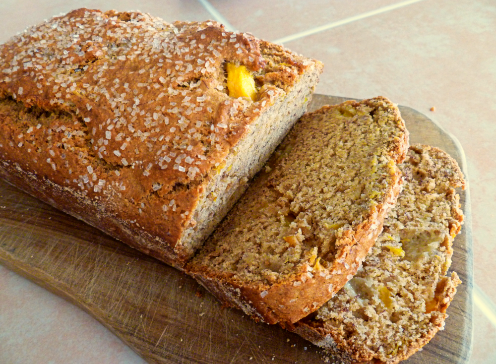 loaf of mango banana bread