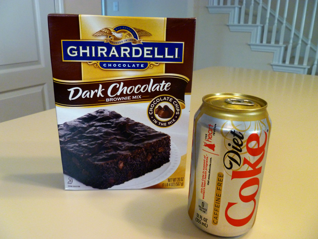 box of brownie mix and can of Coke