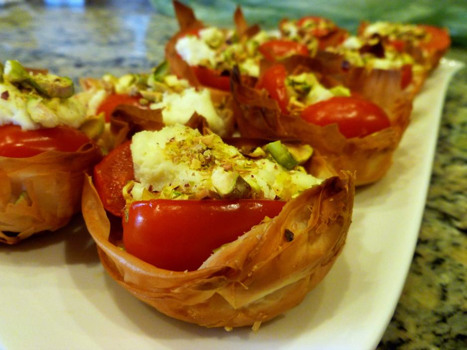ricotta, tomato, and pistachio phyllo cups