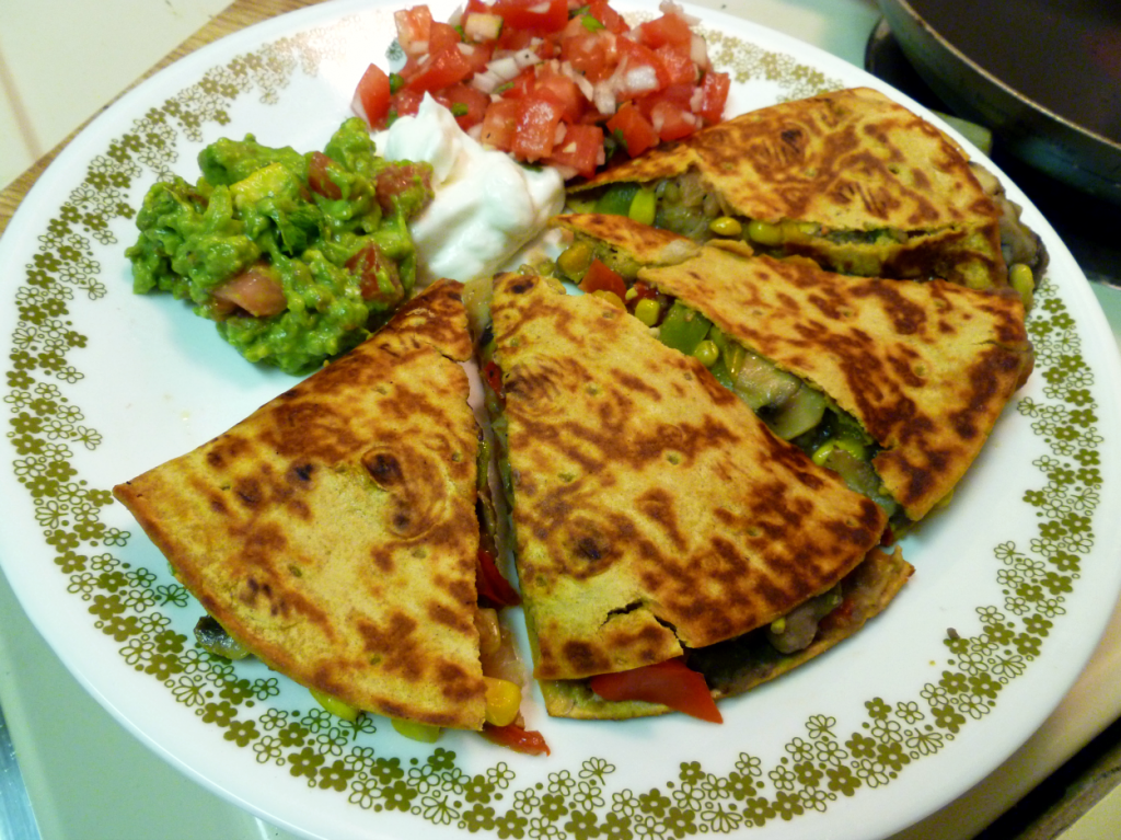 shrimp fajita quesadillas