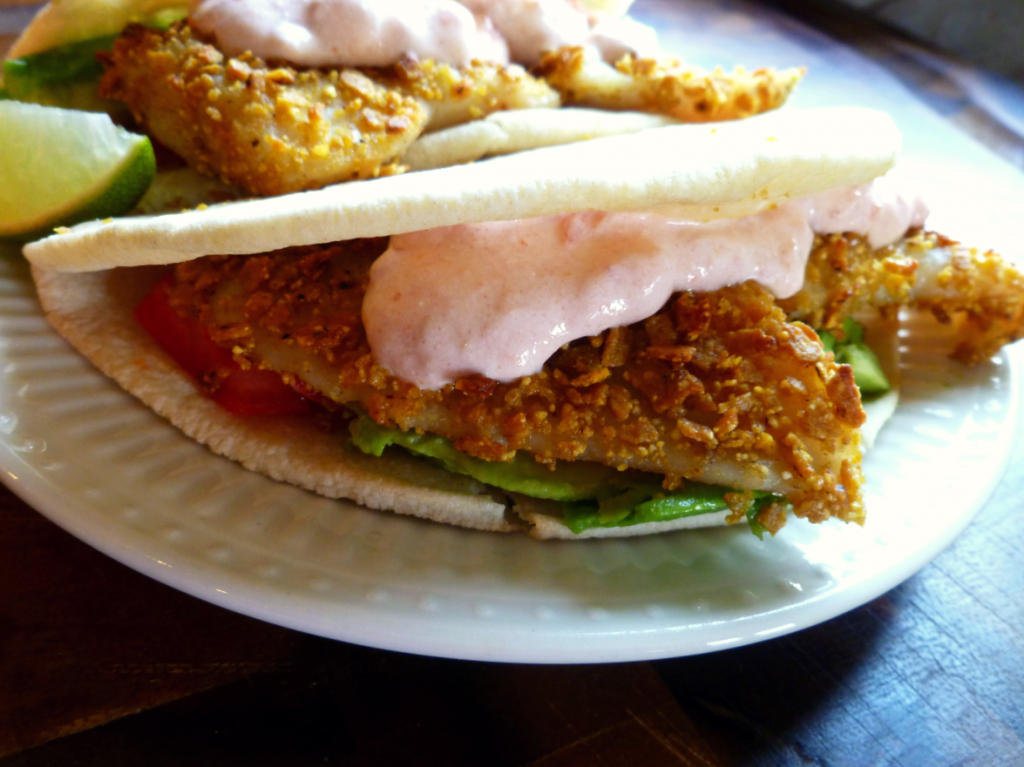 sweet potato-crusted fish tacos with spicy greek yogurt