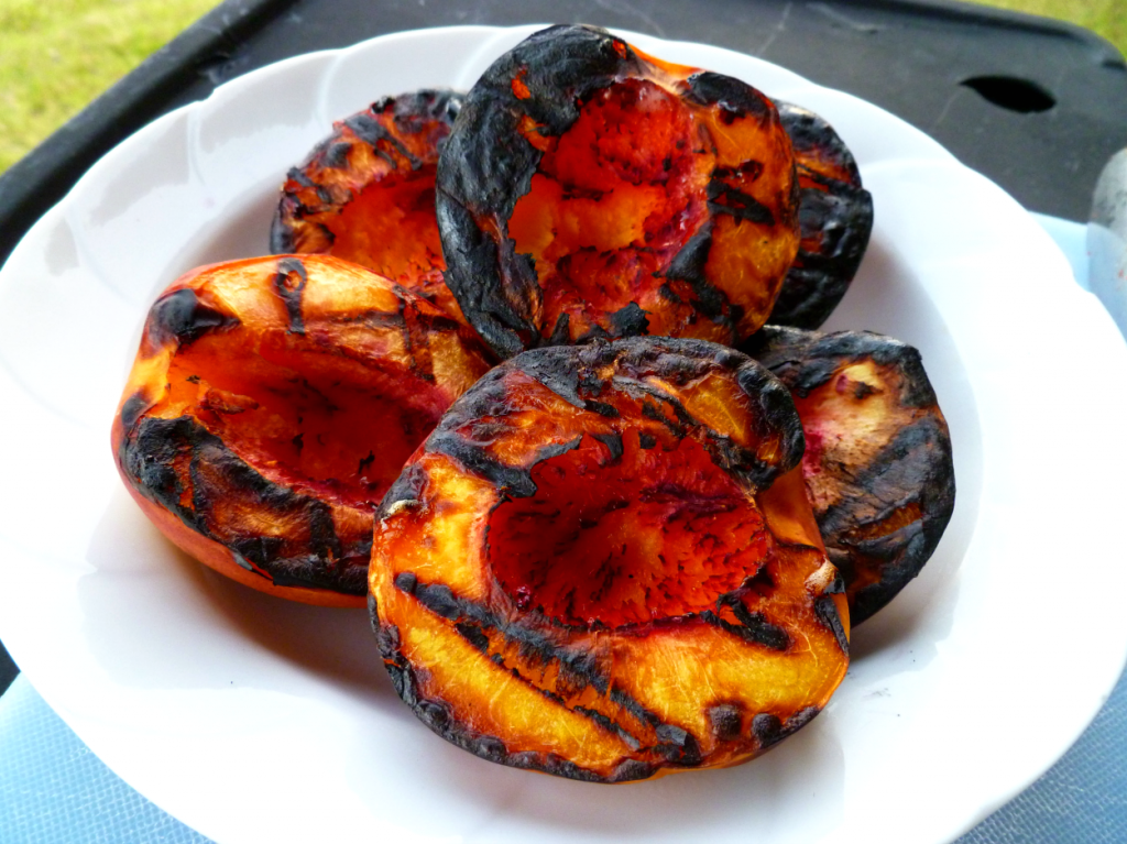 grilled nectarines with whipped coconut chobani
