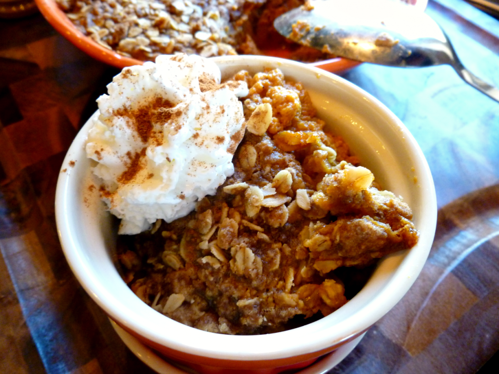 pumpkin cobbler with brown butter streusel