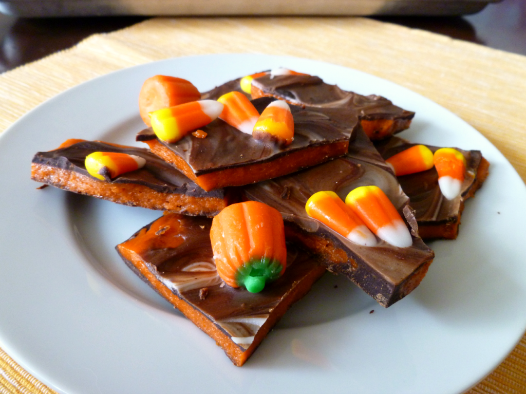 candy corn butterfinger bark
