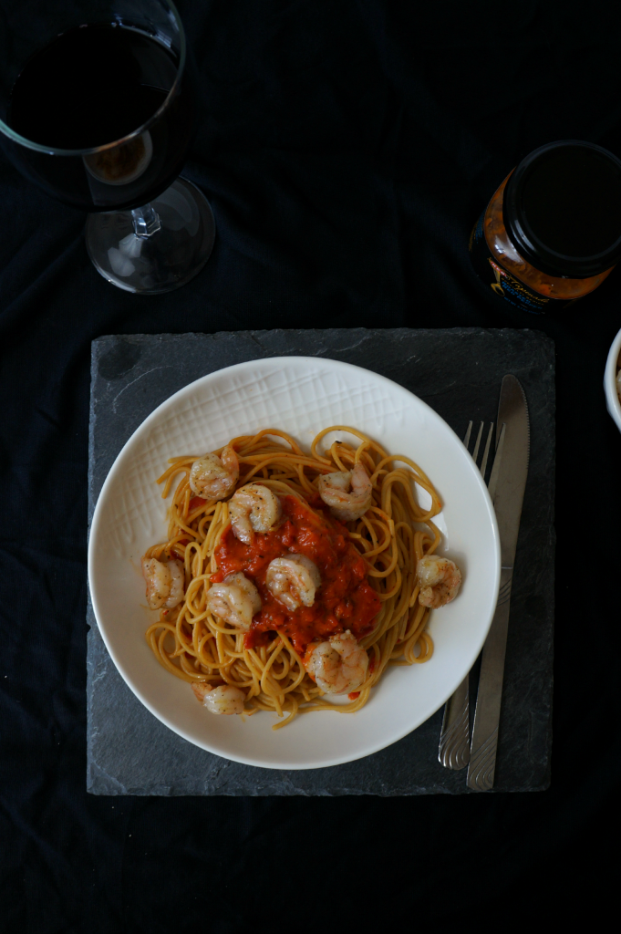 red pepper pasta with shrimp | The Baking Fairy
