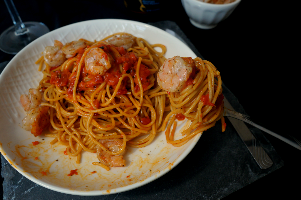 red pepper pasta with shrimp   The Baking Fairy