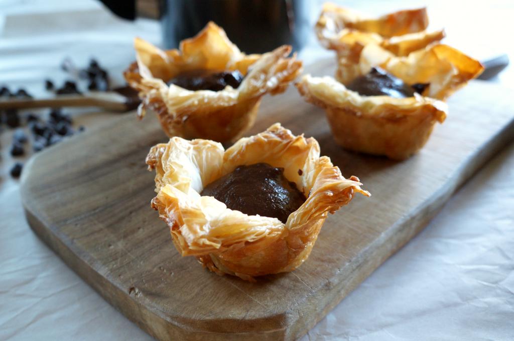 dark chocolate custard phyllo cups | The Baking Fairy