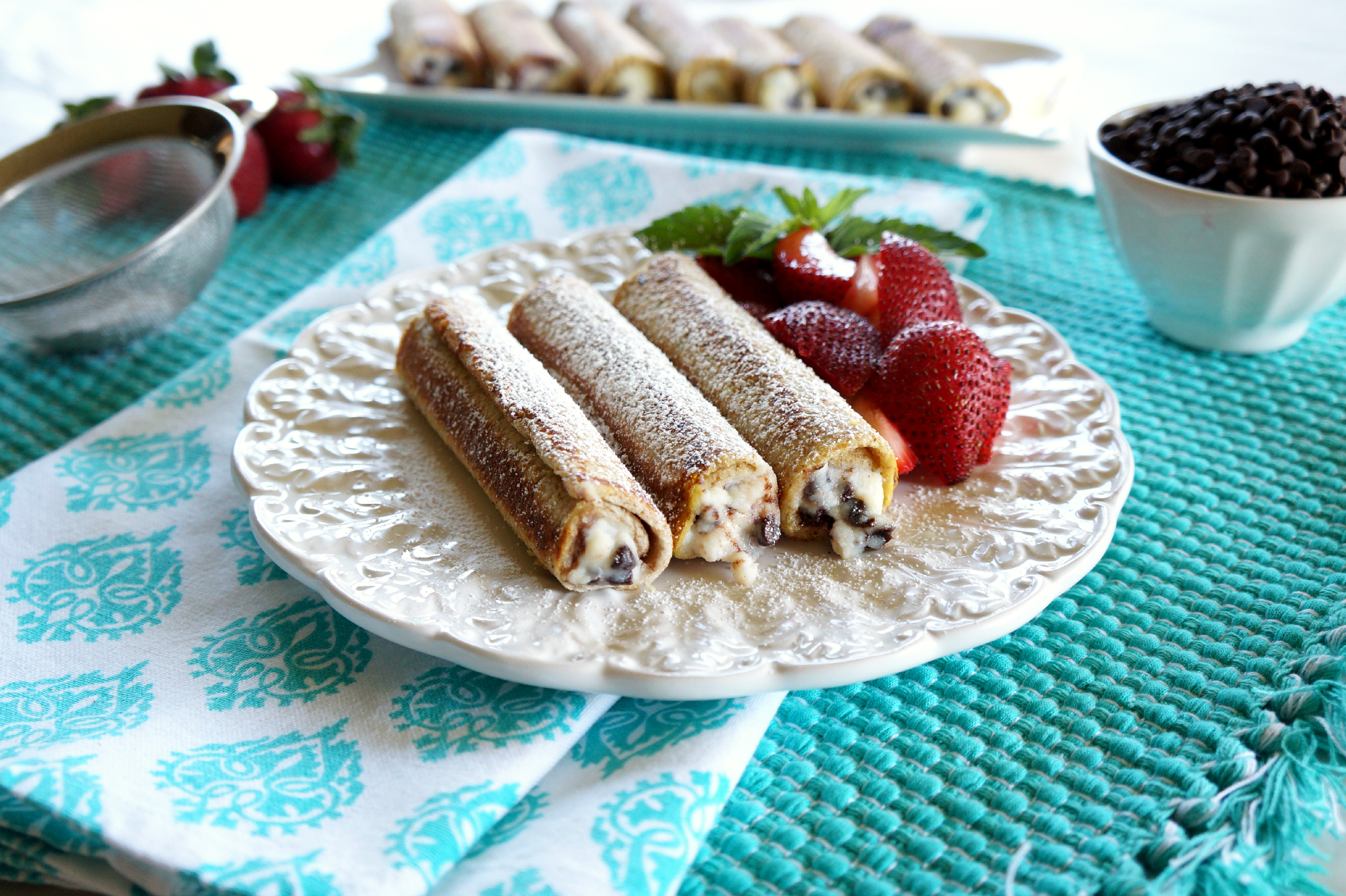cannoli french toast roll-ups | The Baking Fairy