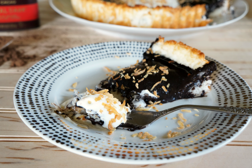 vegan chocolate tart with coconut crust | The Baking Fairy