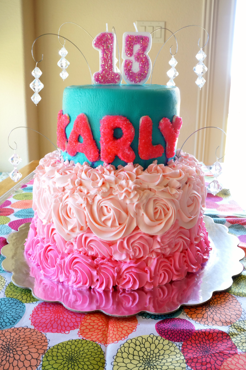 Neon Pink And Teal Birthday Cake