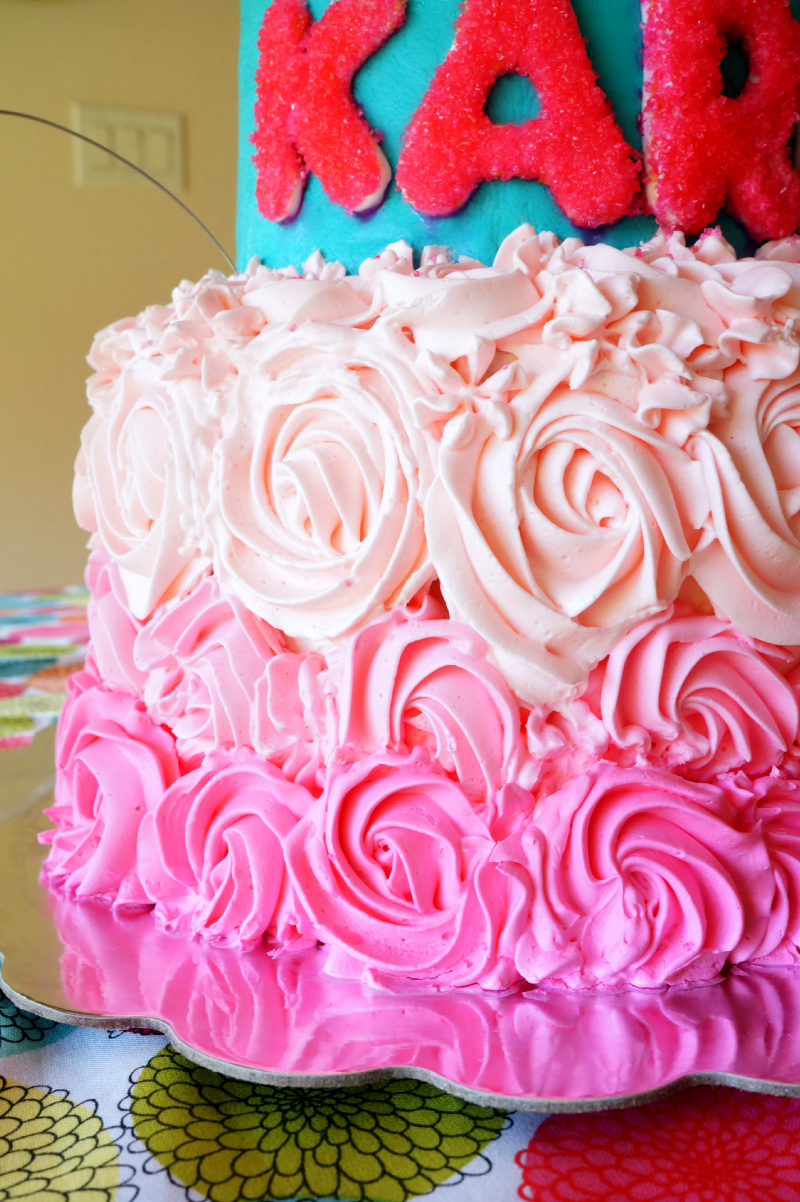 Neon Pink And Teal Birthday Cake The Baking Fairy