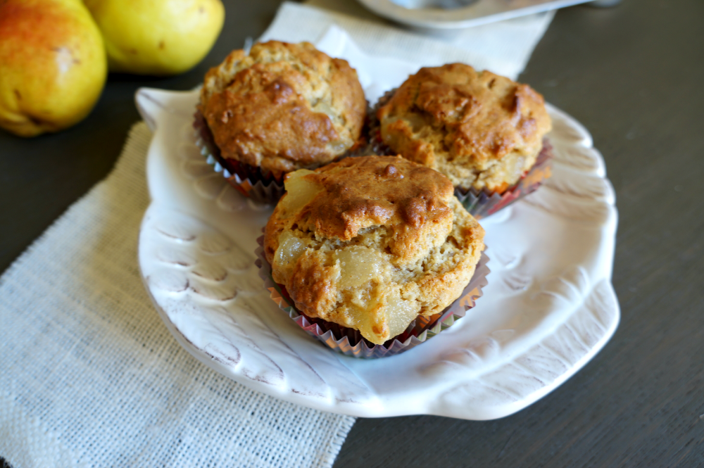 browned butter pear muffins   The Baking Fairy