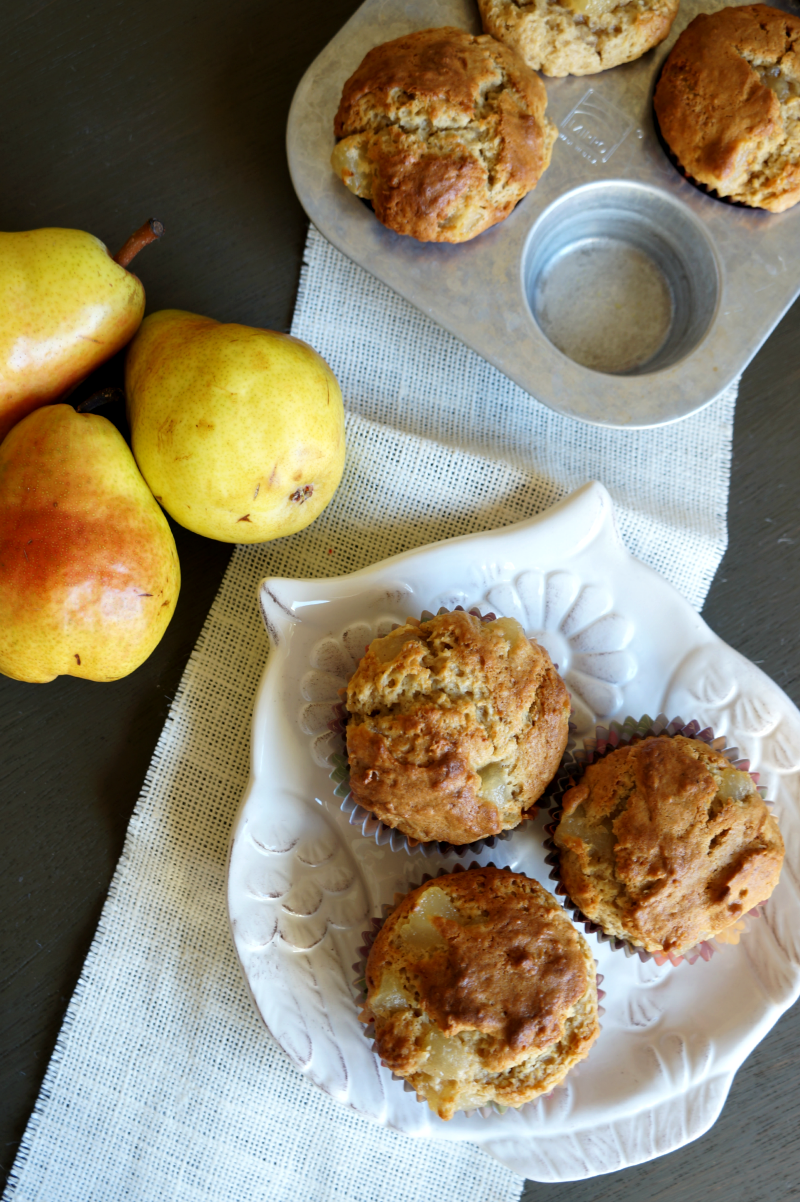 browned butter pear muffins | The Baking Fairy