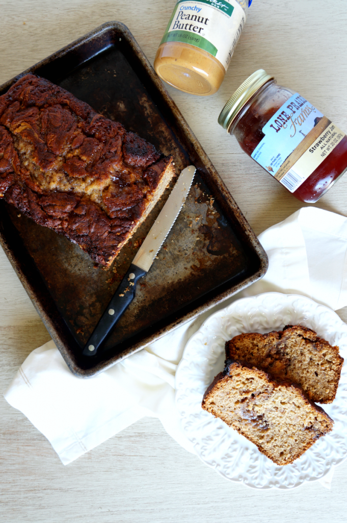 peanut butter & jelly banana bread | The Baking Fairy