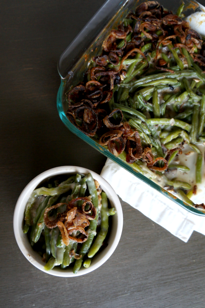 homemade green bean casserole with fried shallots | The Baking Fairy