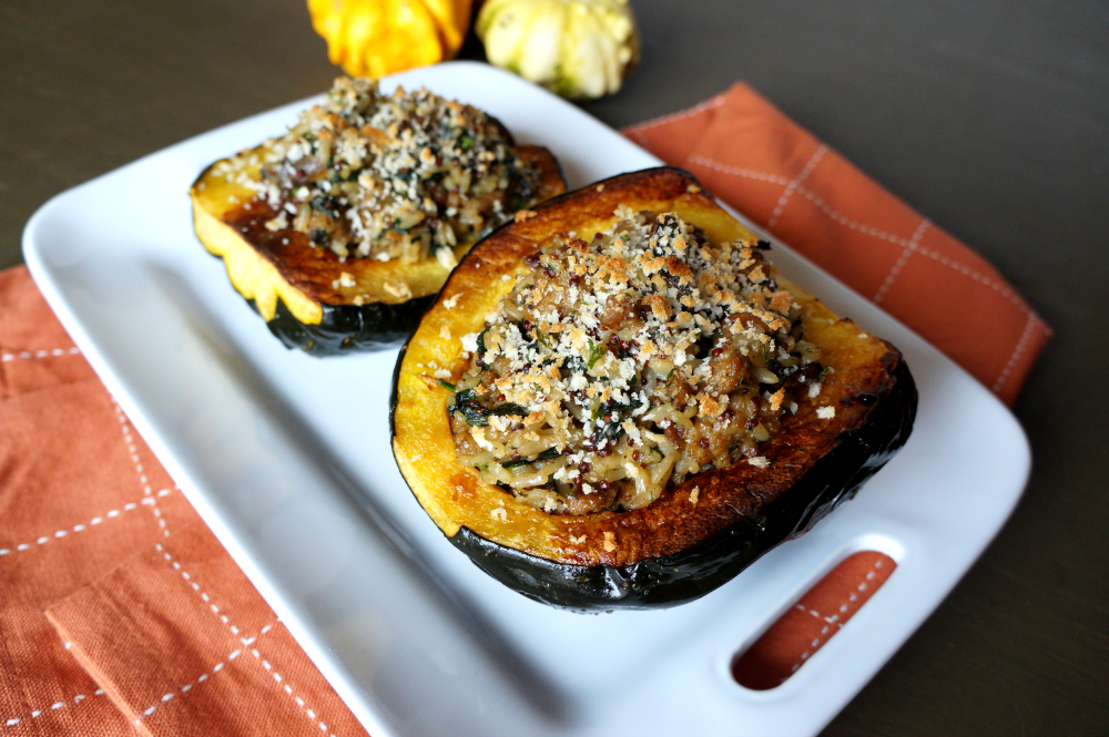 acorn squash with rice & sausage stuffing
