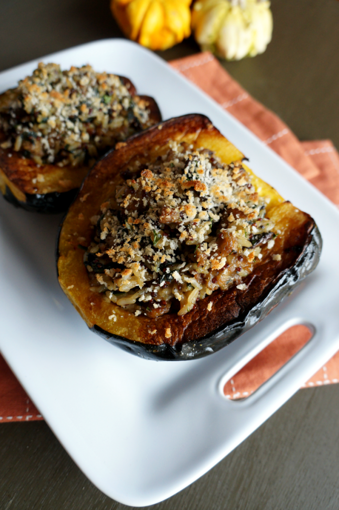 acorn squash with rice & sausage stuffing | The Baking Fairy