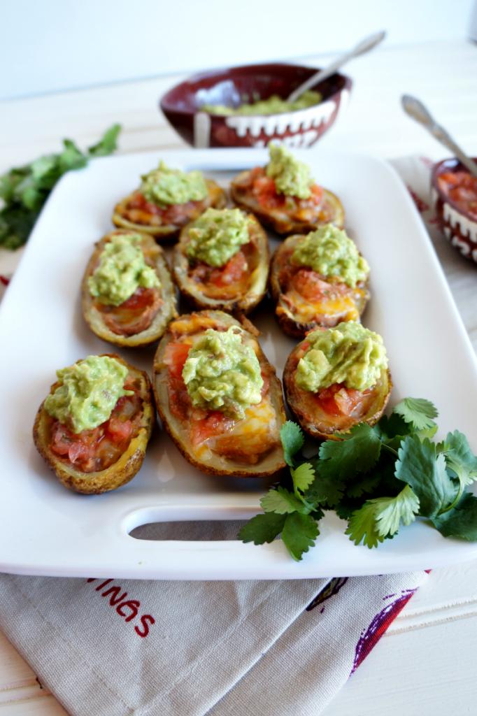 Tex-Mex potato skins with guacamole