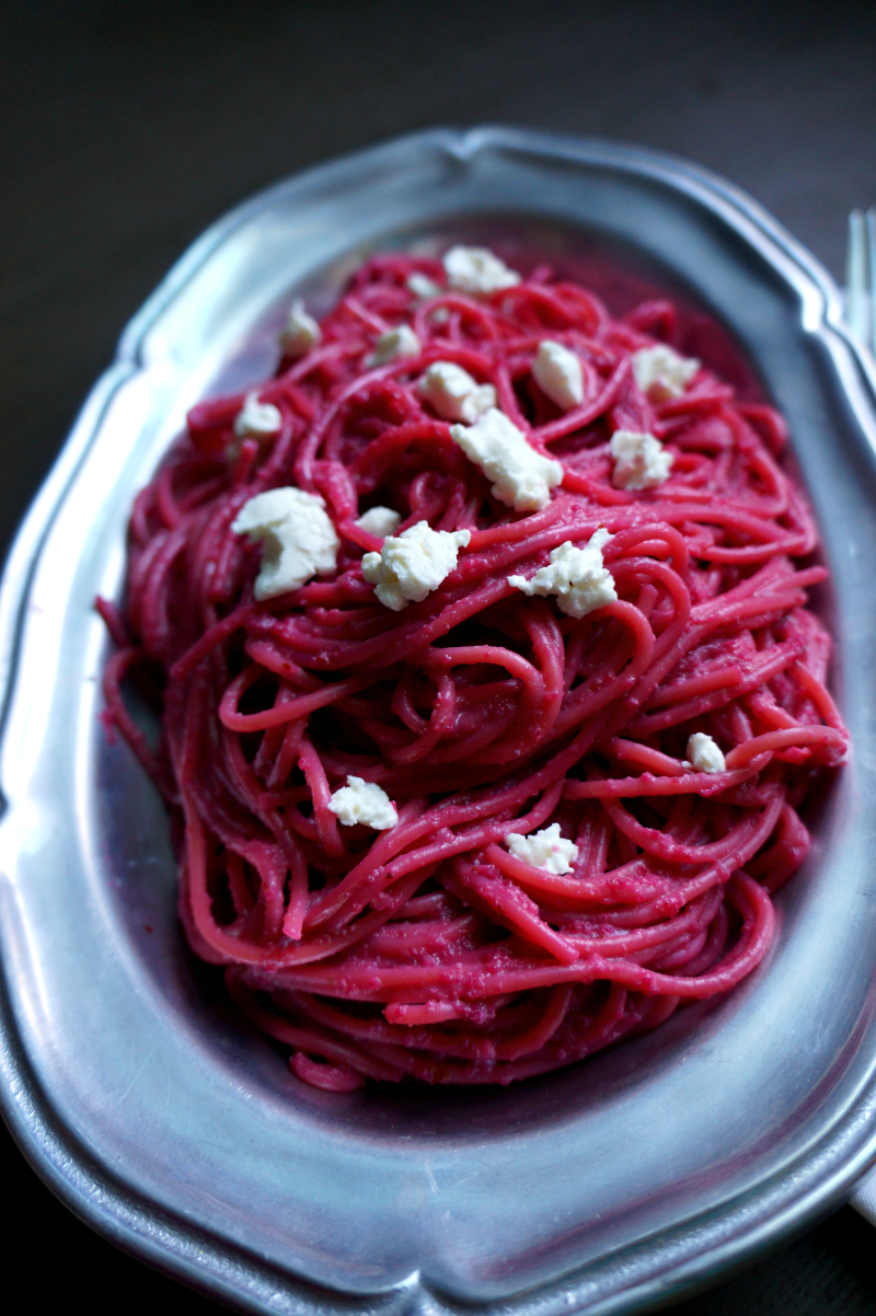 beet pesto pasta with goat cheese | The Baking Fairy