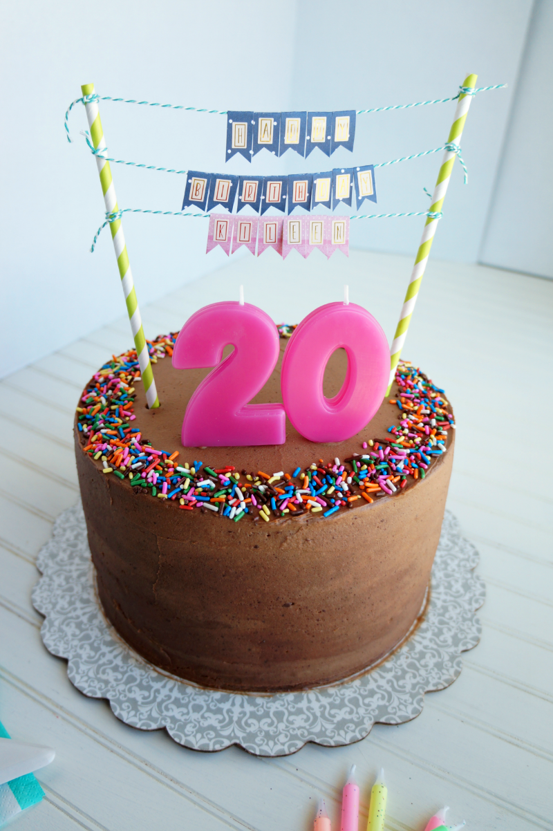 Awe Inspiring 20Th Birthday Chocolate Confetti Cake The Baking Fairy Personalised Birthday Cards Veneteletsinfo