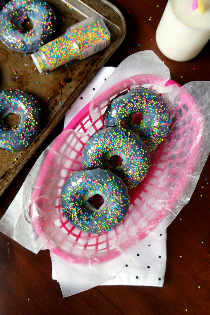 dark chocolate donuts with white chocolate glaze
