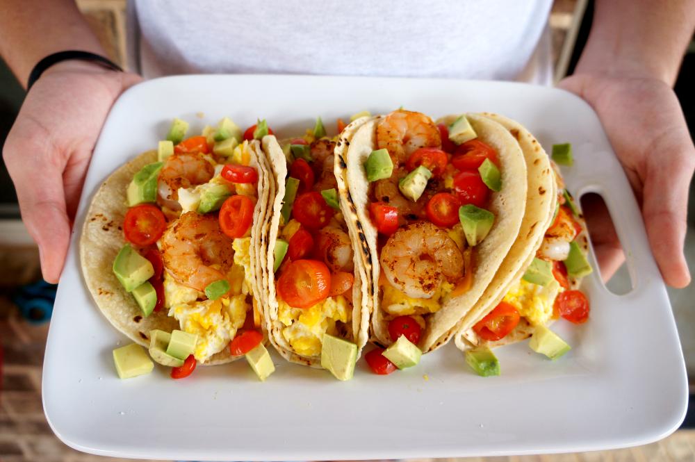 shrimp breakfast tacos | The Baking Fairy