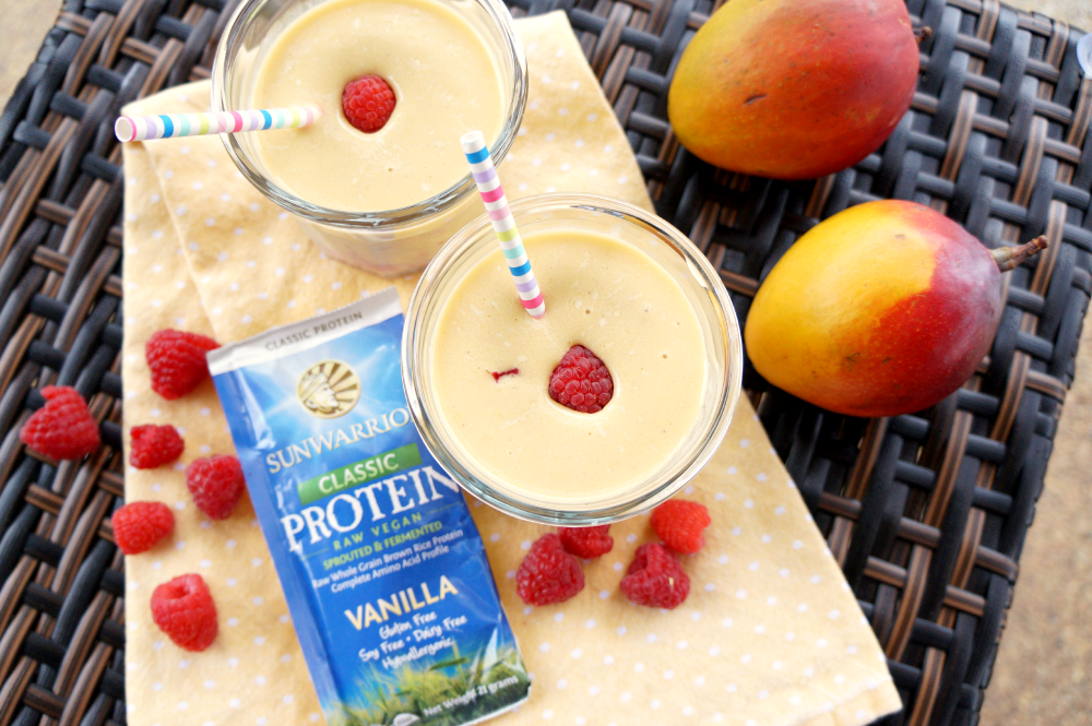 vegan raspberry mango protein smoothie | The Baking Fairy