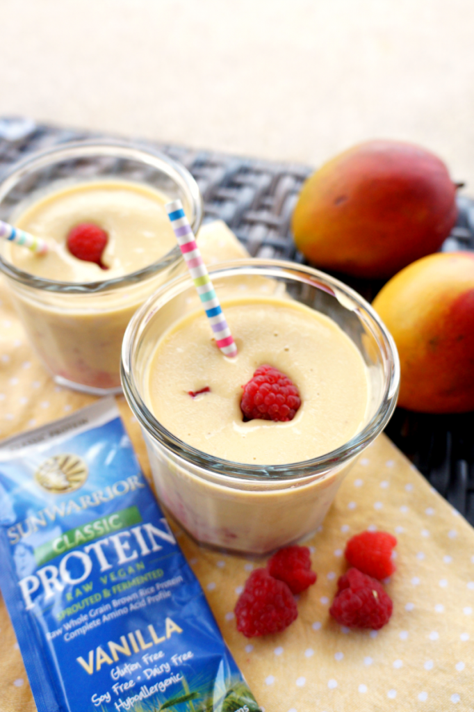 vegan raspberry mango protein smoothie
