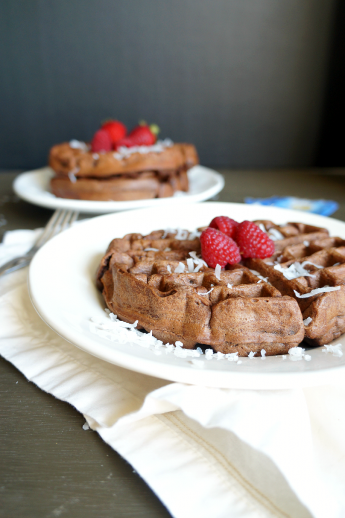 vegan chocolate coconut protein waffles with Sunwarrior