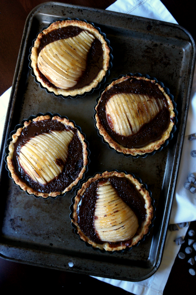 chocolate pear tarts