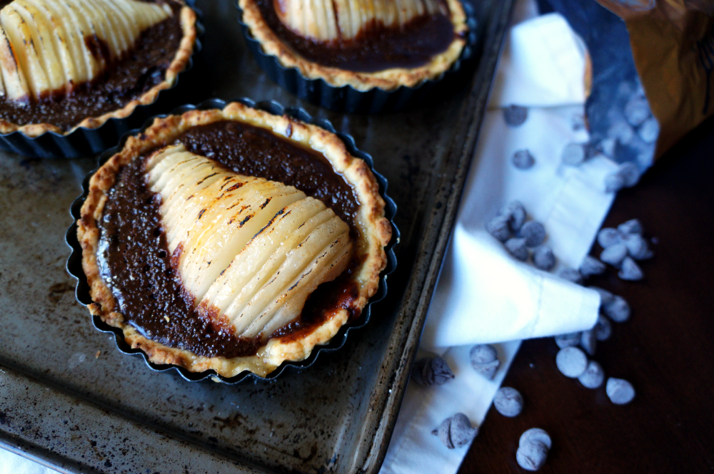 chocolate pear tarts | The Baking Fairy