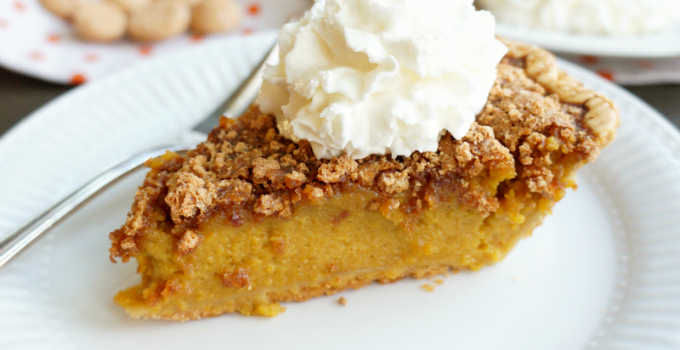 fresh pumpkin pie with amaretto streusel
