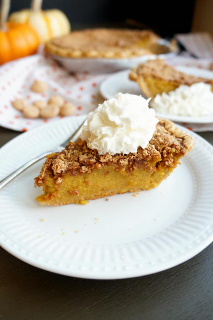 fresh pumpkin pie with amaretto streusel