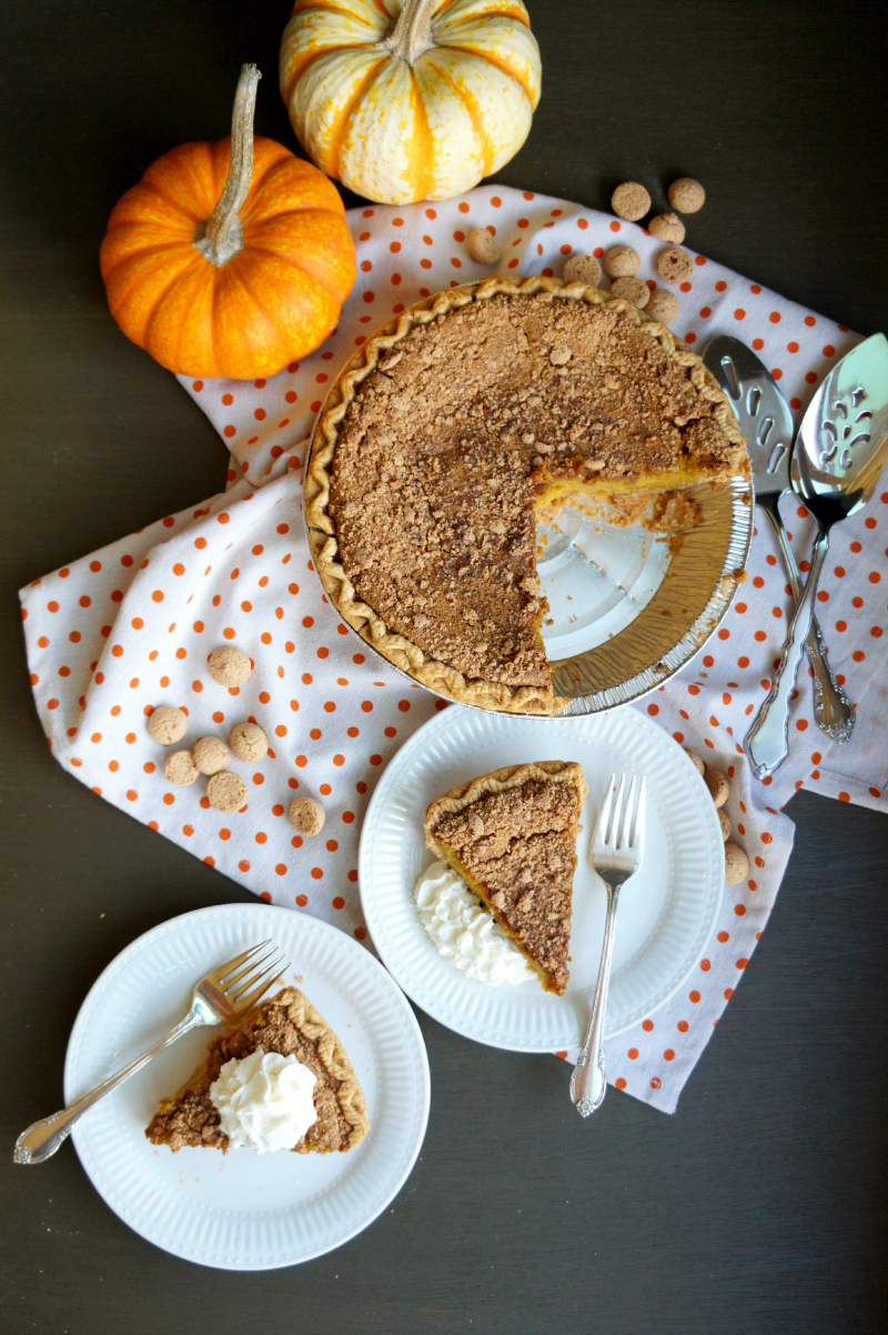 fresh pumpkin pie with amaretto streusel | The Baking Fairy