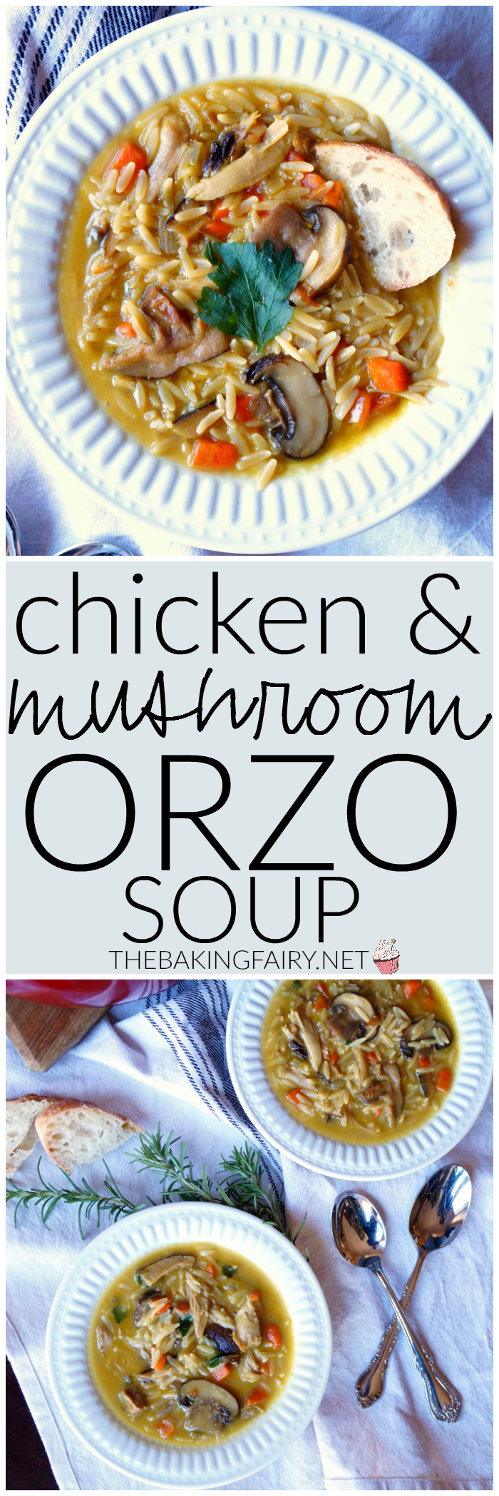 chicken mushroom orzo soup | The Baking Fairy