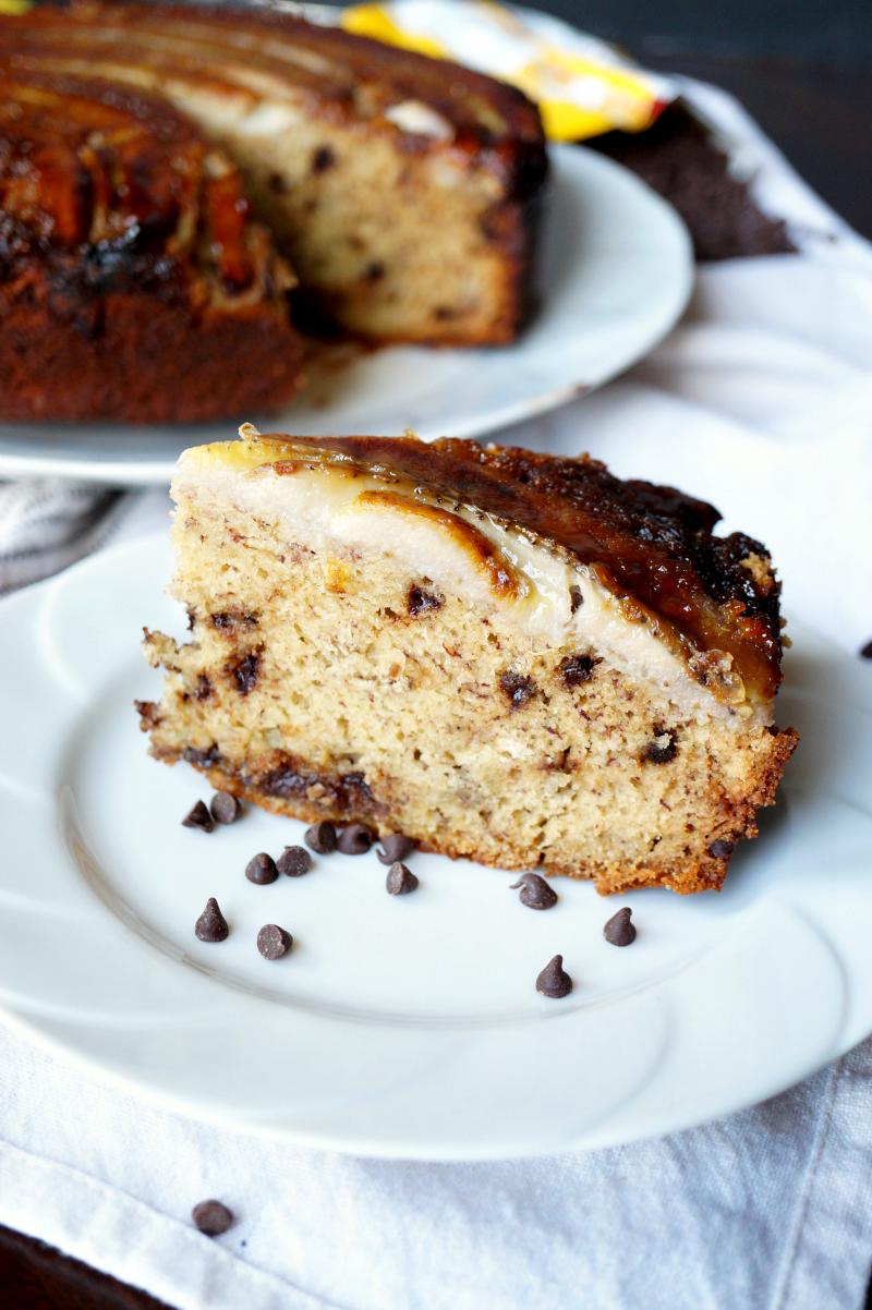 upside down banana chocolate chip cake | The Baking Fairy