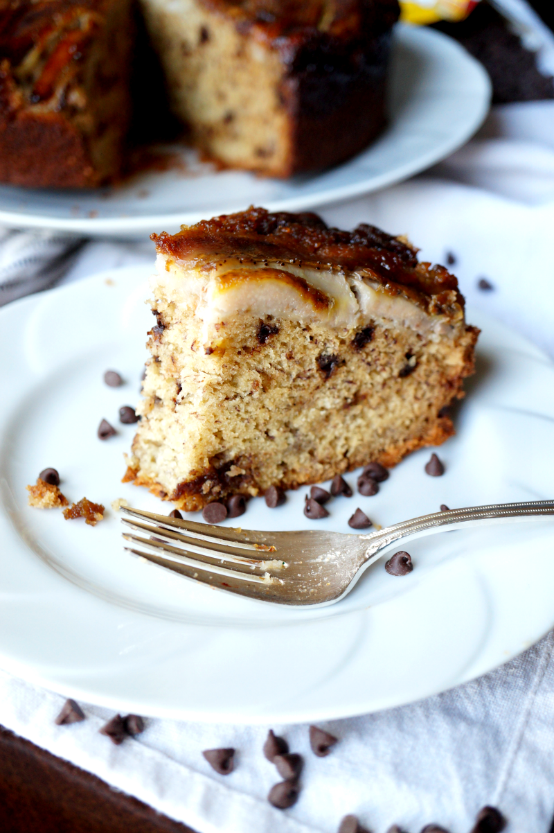 upside down banana chocolate chip cake | The Baking Fairy