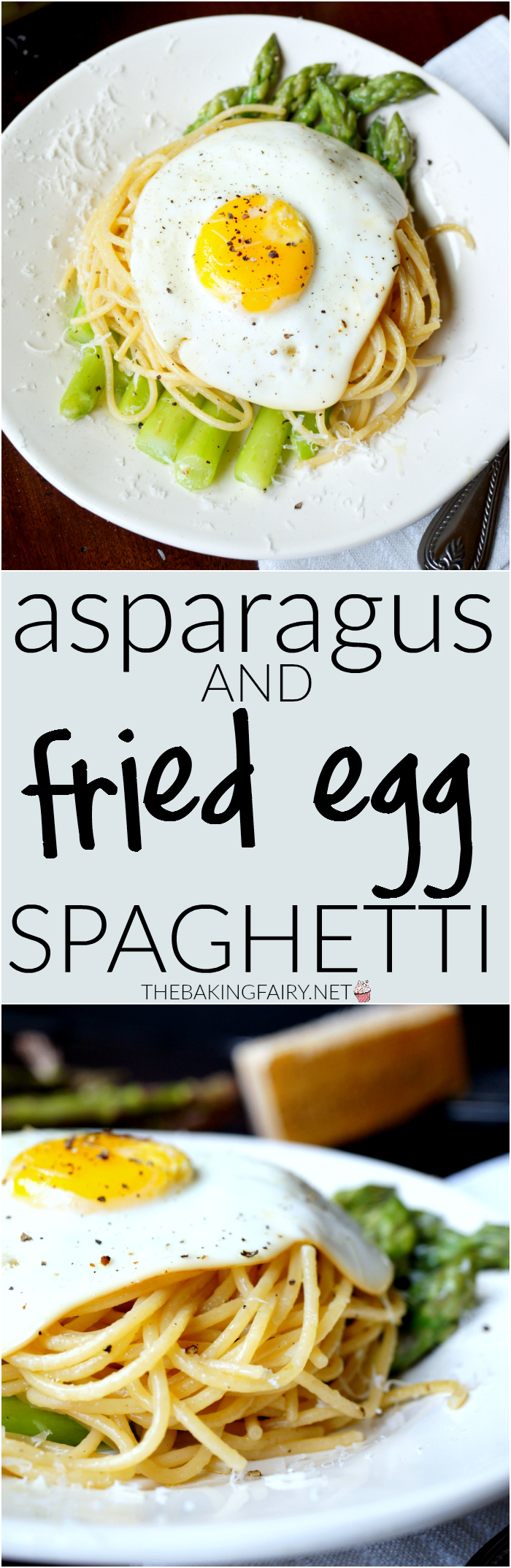 asparagus & fried egg spaghetti | The Baking Fairy