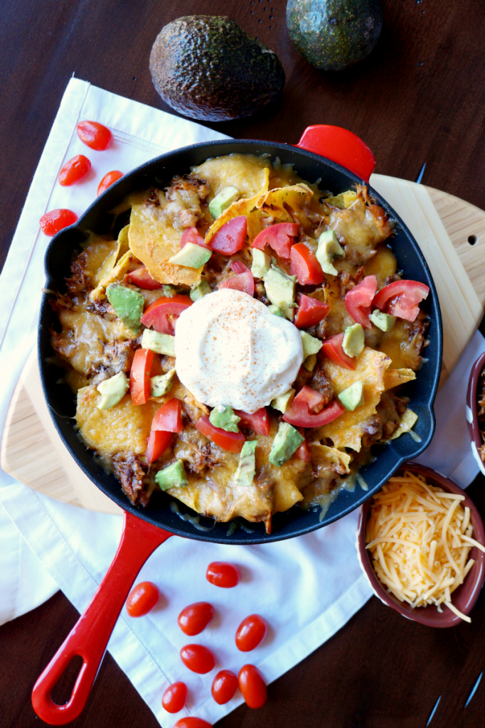 slow cooker pulled chicken nachos