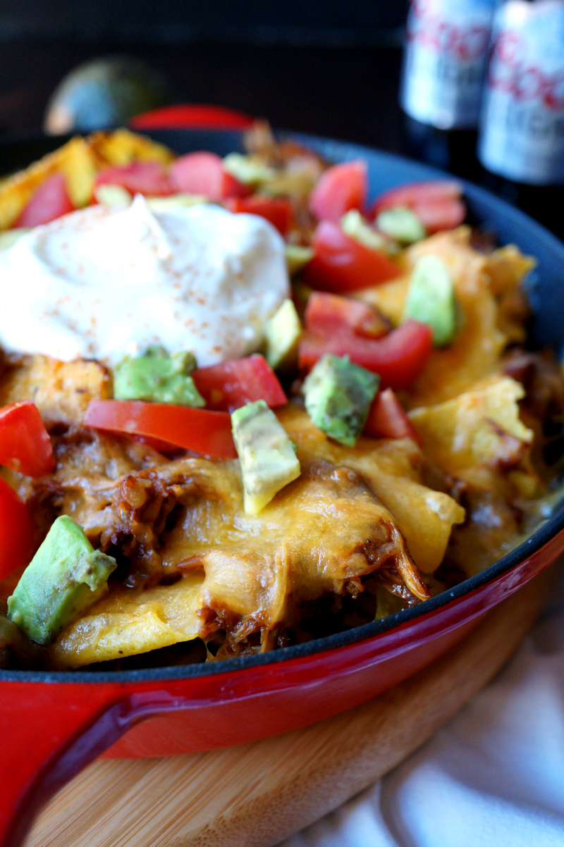 slow cooker pulled chicken nachos | The Baking Fairy