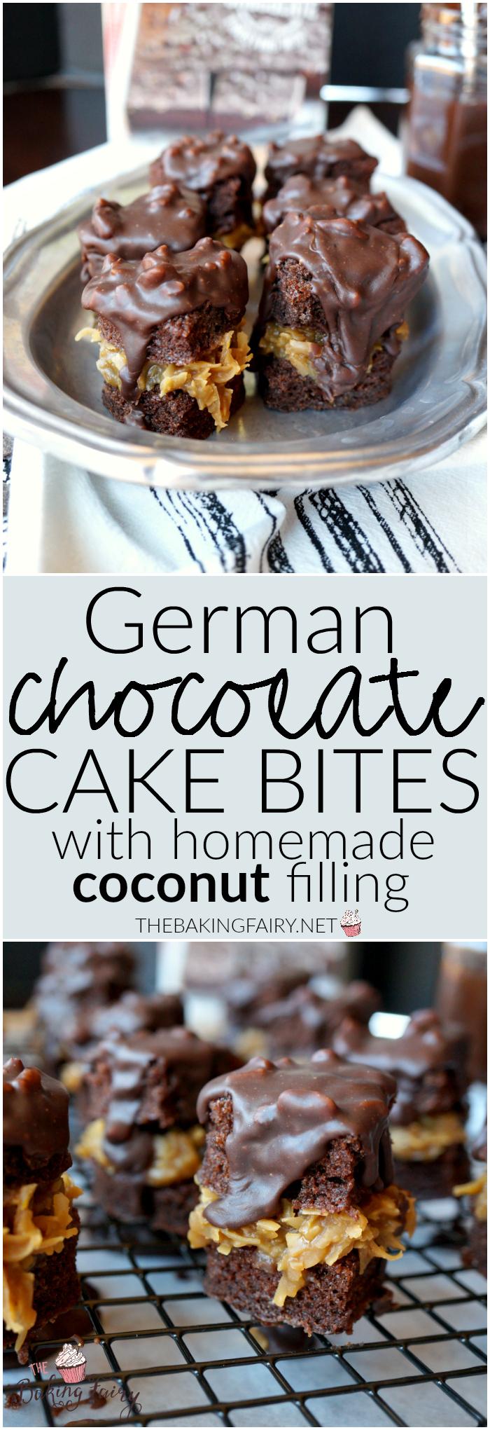 german chocolate cake bites   The Baking Fairy