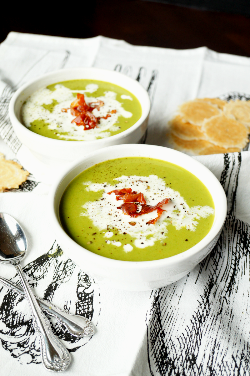 green pea soup with crispy prosciutto | The Baking Fairy