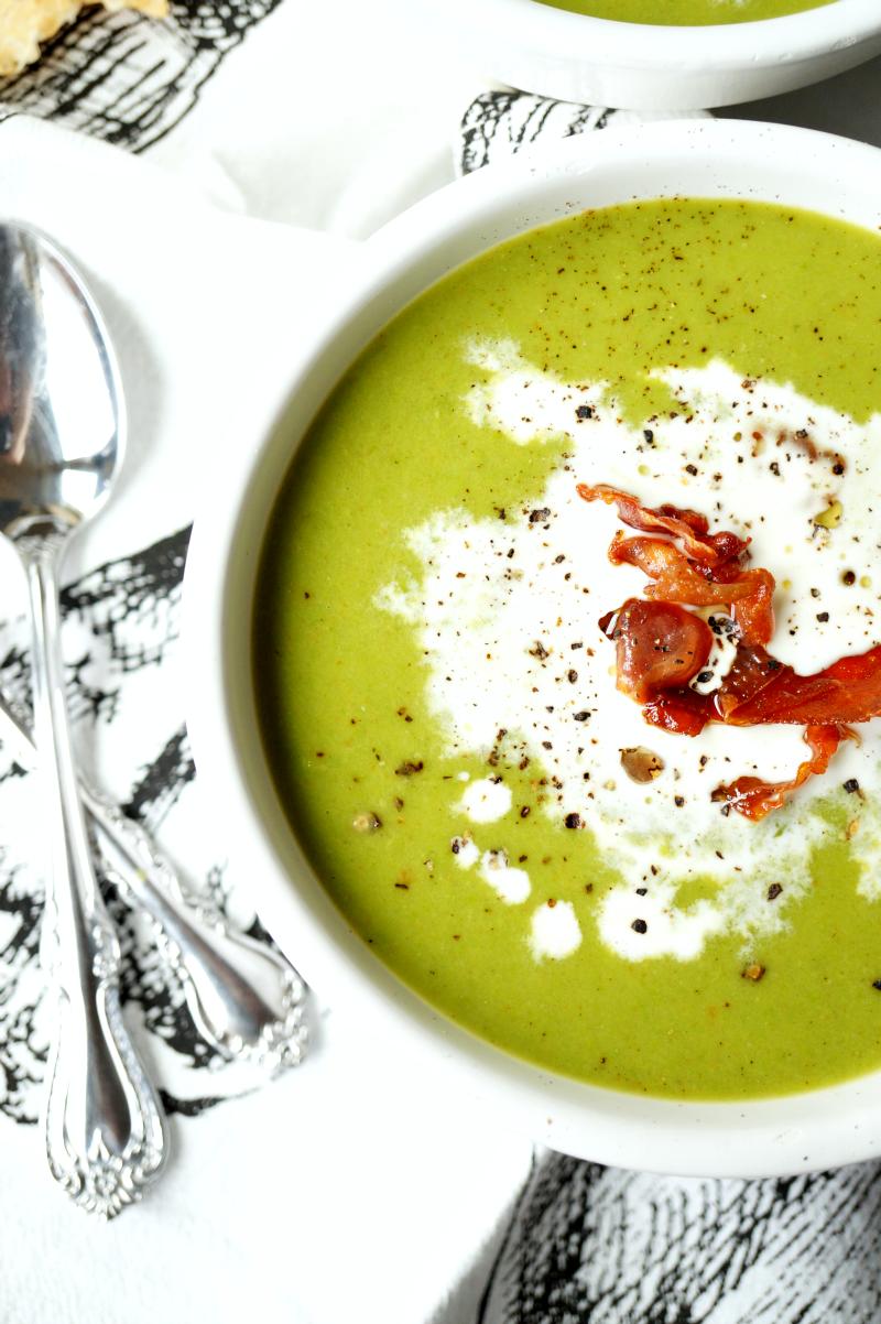 green pea soup with crispy prosciutto   The Baking Fairy