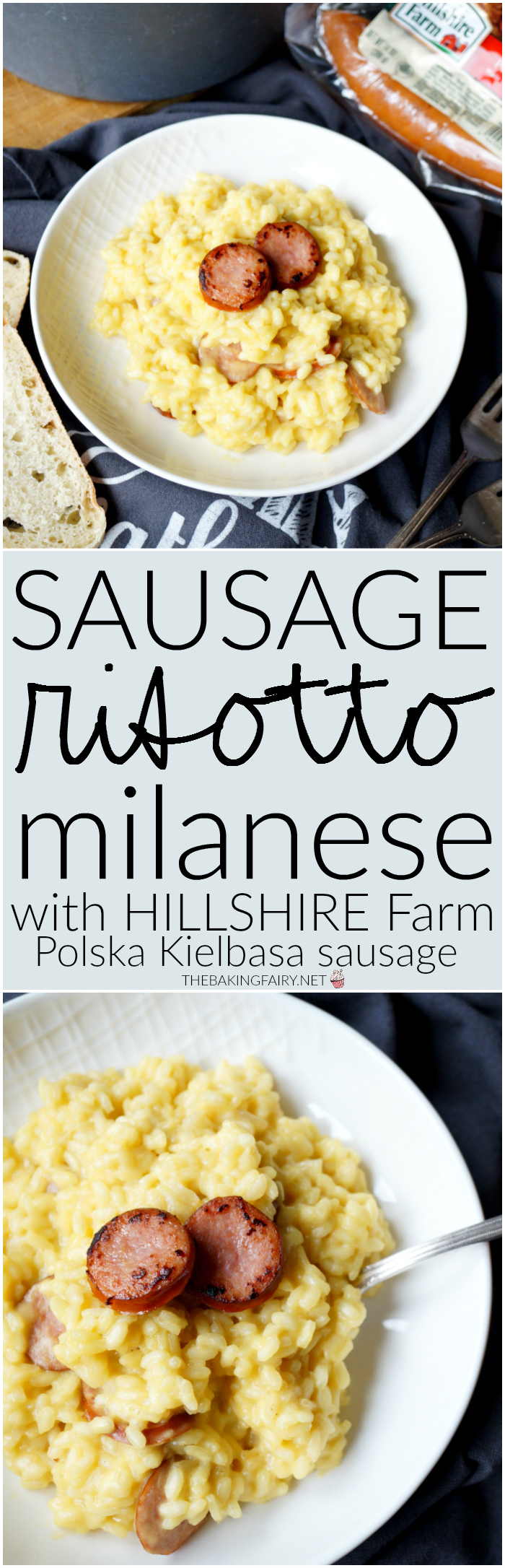 sausage risotto milanese with Hillshire Farm | The Baking Fairy