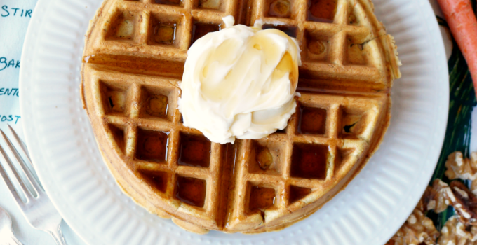 carrot cake waffles with mascarpone maple cream