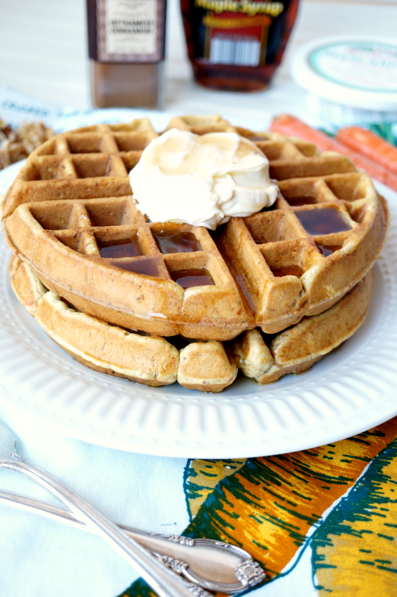 carrot cake waffles with mascarpone maple cream | The Baking Fairy