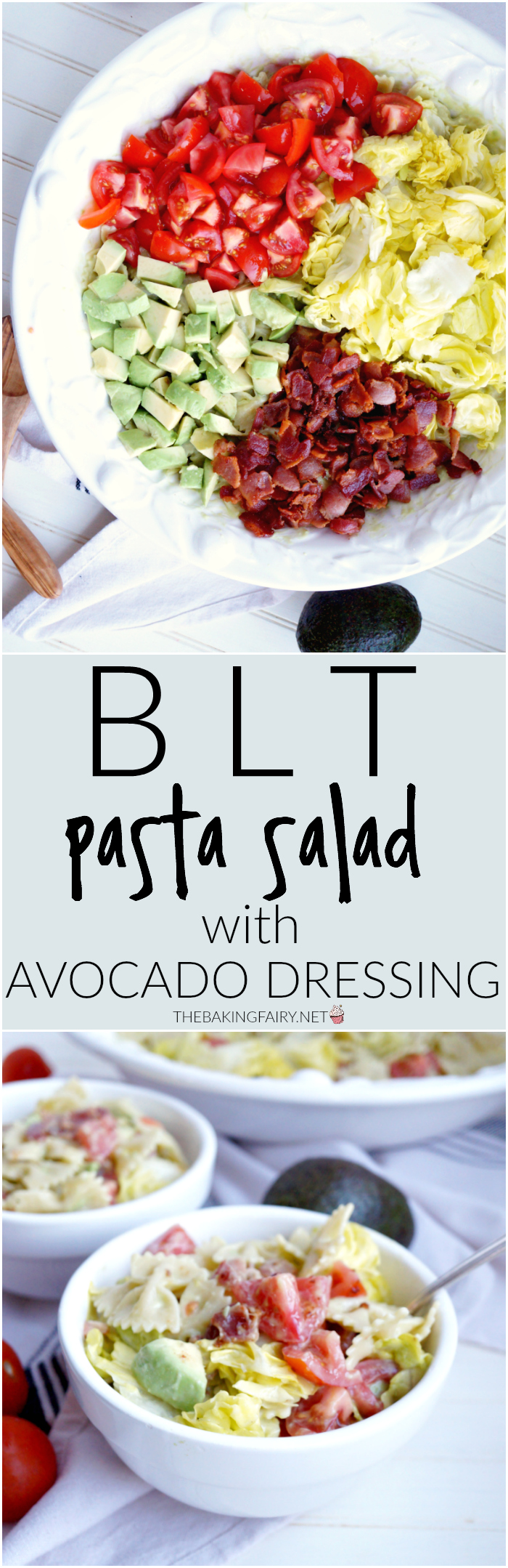 BLT pasta salad with avocado dressing   The Baking Fairy