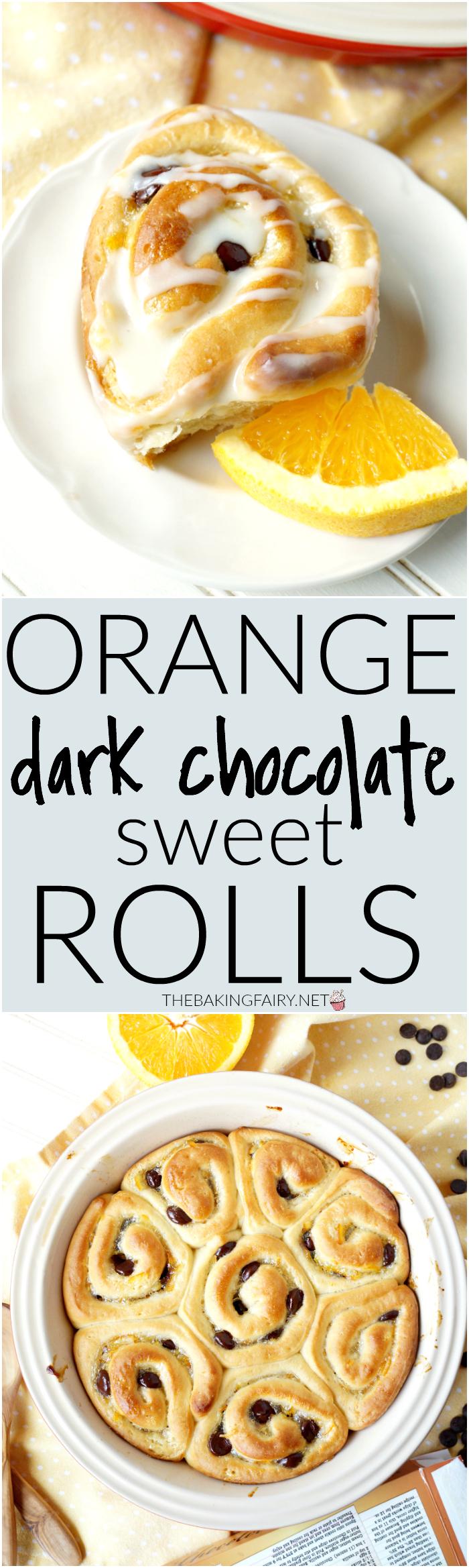 orange dark chocolate sweet rolls | The Baking Fairy