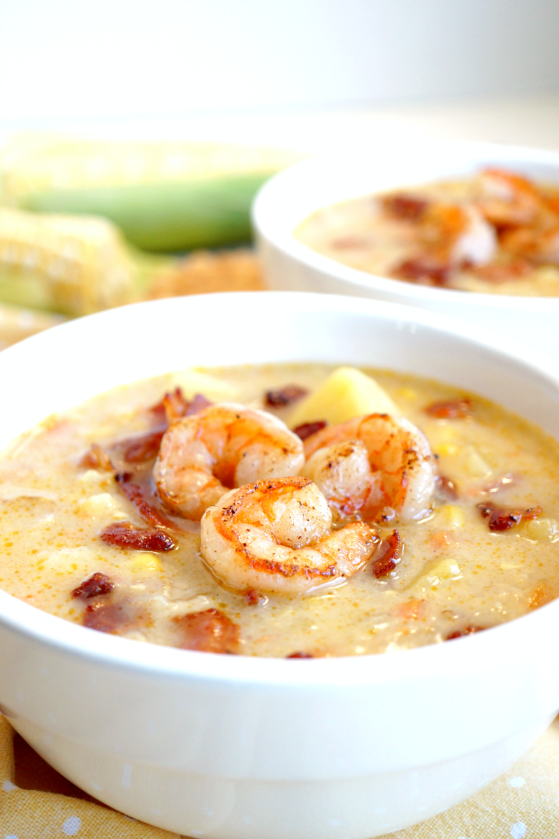 corn chowder with shrimp | The Baking Fairy