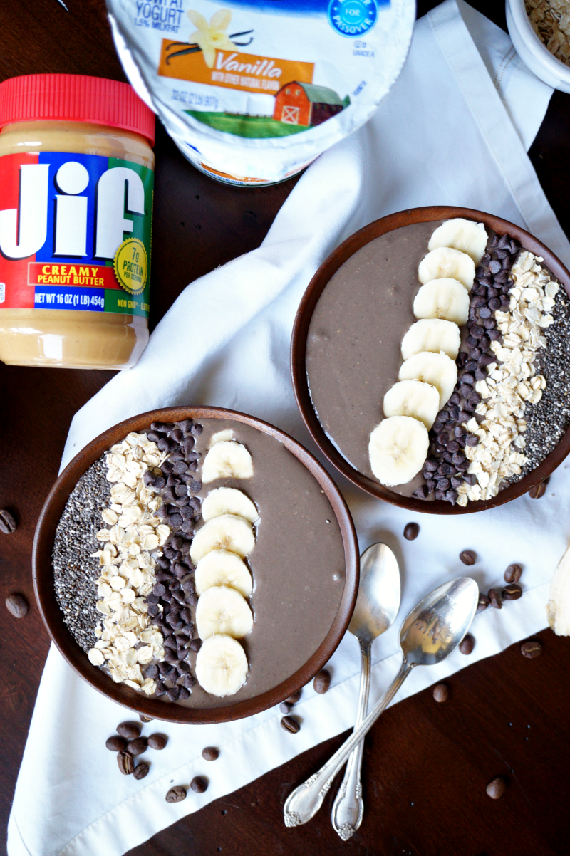 peanut butter mocha smoothie bowl | The Baking Fairy